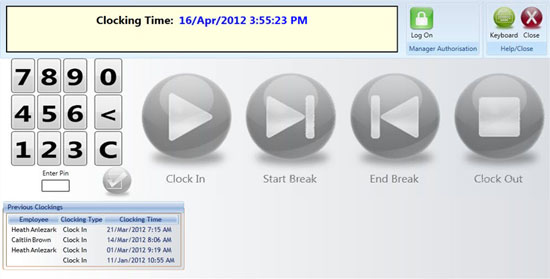 franchise timeclock user interface